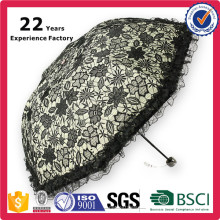 High Quality Hot Selling New Hand Sun Fashion Ruffle Umbrella Women Fold Parasol